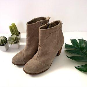 Toms suede zip up block heel boots size 7.5